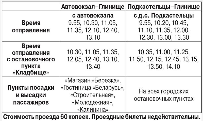 расписание на Радоницу Глинище 2018
