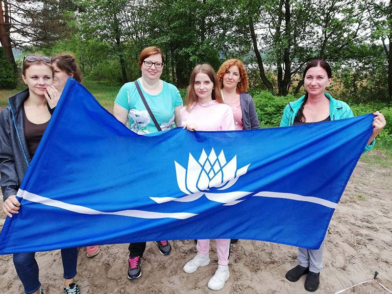 С флагом Новополоцка