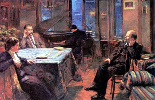 Ленин в гостях у Горького 20 октября 1920 года слушает «Аппасионату». Художник Д.Налбандян.
