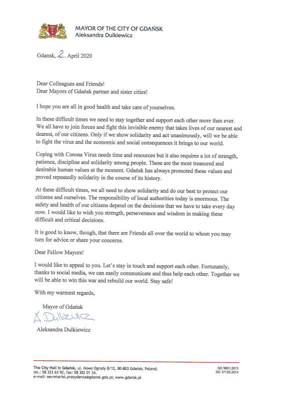 Письмо от мэра Гданьска