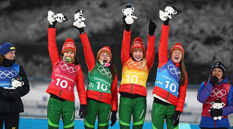 Белорусские биатлонистки победили в эстафетной гонке 4х6 км на зимних Олимпийских играх в Пхенчхане