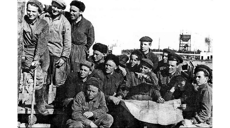 Бригада Петра Блохина на строительстве завода ЖБИ