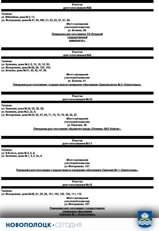 Участки для голосования 8-12_Новополоцк