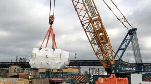 Первая газотурбинная установка и генератор прибыли на стройплощадку Новополоцкой ТЭЦ